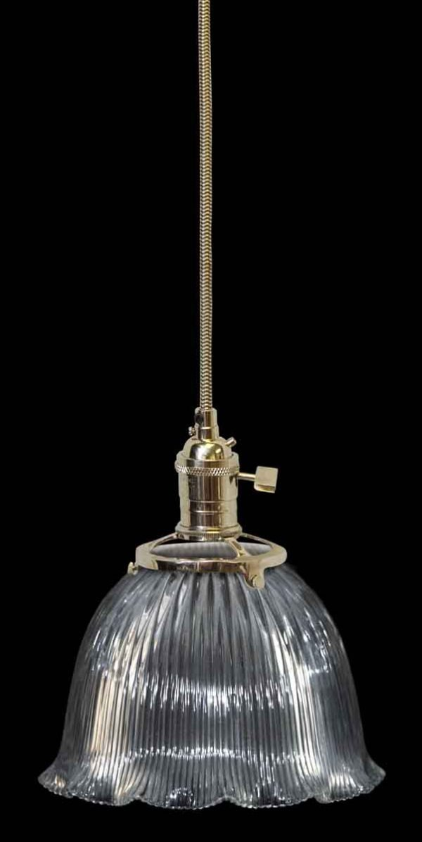Custom Antique Clear Holophane 6 in. Glass Pendant Light