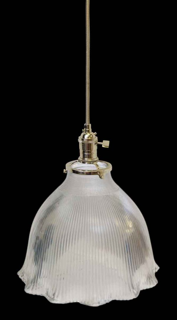 Custom Antique Holophane 10.75 in. Clear Glass Pendant Light