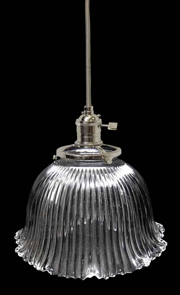 Custom Antique Holophane 6 in. Glass Pendant Light