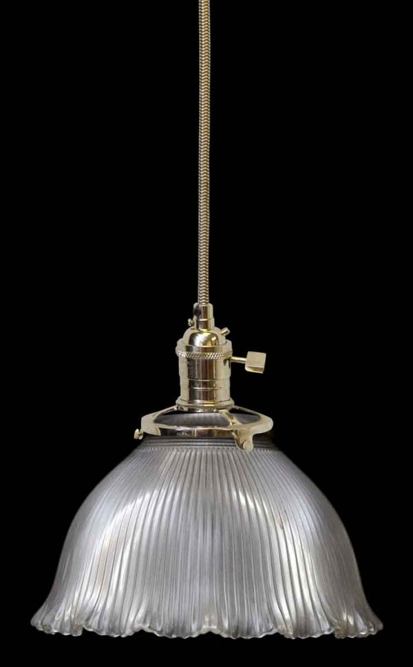 Custom Antique Holophane 6.75 in. Clear Glass Pendant Light