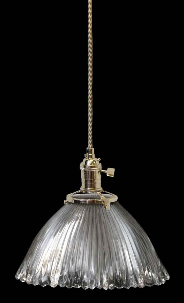 Custom Antique Holophane 7.25 in. Clear Glass Pendant Light