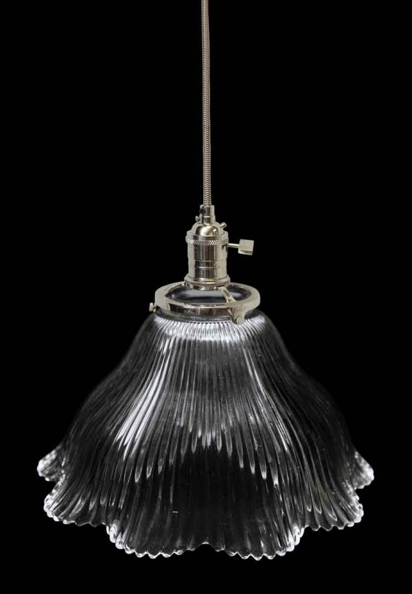 Custom Antique Holophane 7.75 in. Clear Glass Pendant Light