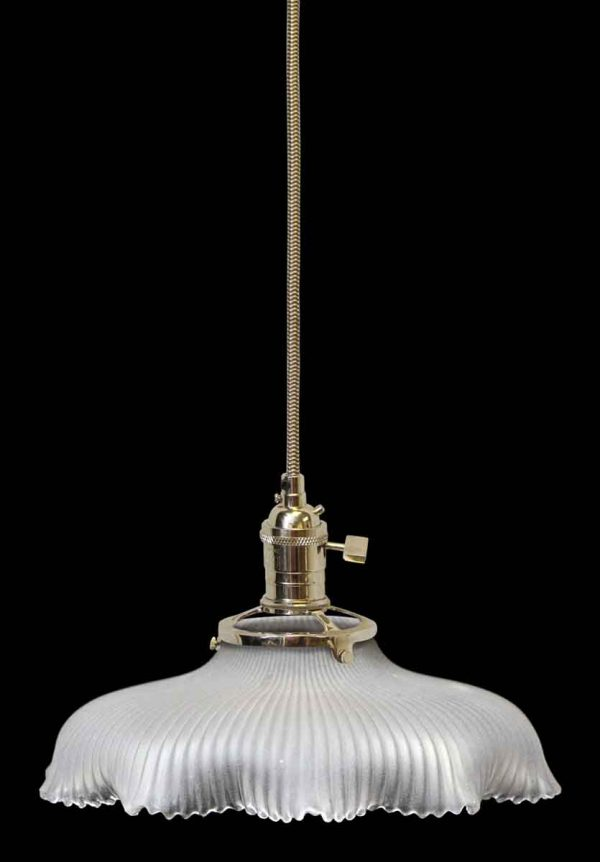 Custom Antique Holophane 8.5 in. Clear Glass Pendant Light