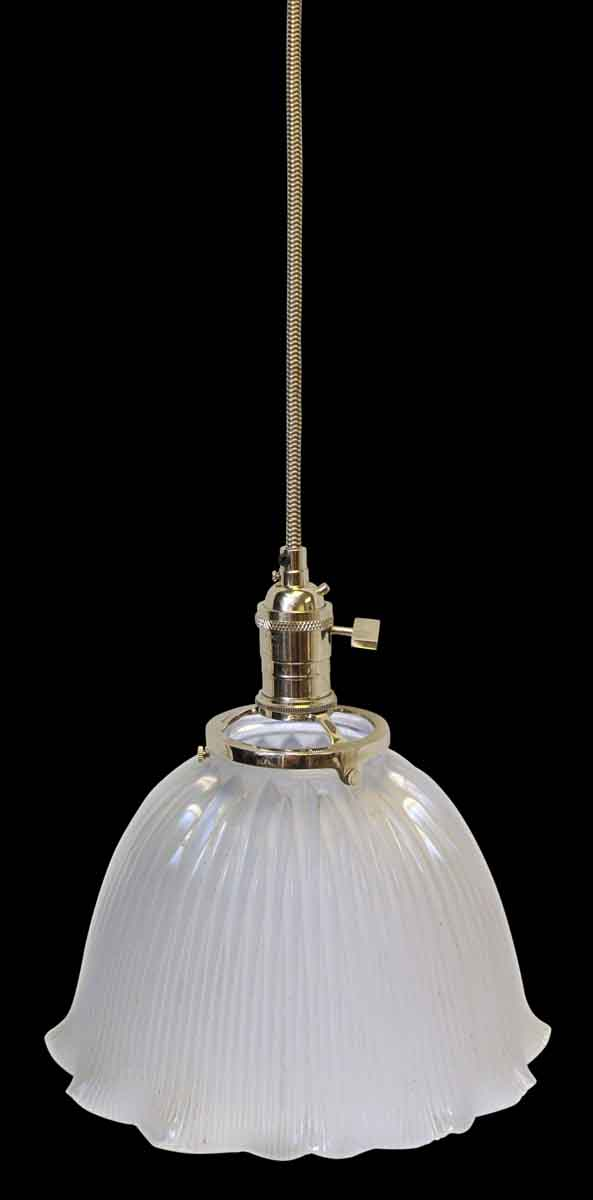 Custom Antique Holophane 9.25 in. Clear Glass Pendant Light