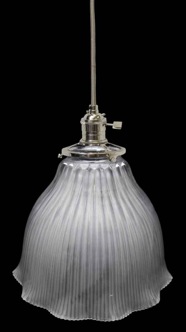 Custom Antique Holophane Frosted 7 in. Glass Pendant Light
