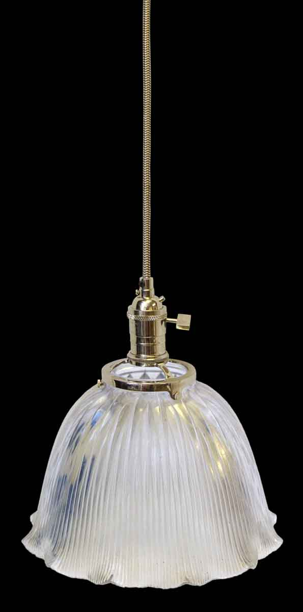 Custom Holophane Antique 9.75 in. Clear Glass Pendant Light