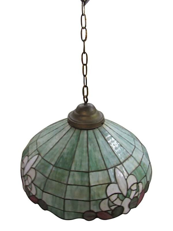 Vintage 24 in. Green Stained Glass Down Pendant Light