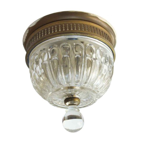 Flush & Semi Flush Mounts - Antique Cast Glass & Brass Flush Mount Light Fixture
