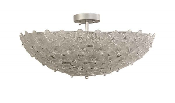 Flush & Semi Flush Mounts - Hand Blown Murano Glass Flower Semi Flush Light Fixture