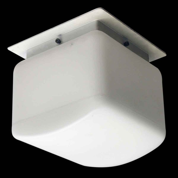 Flush & Semi Flush Mounts - Mid Century White Opaline Lumenform Flush Mount Light