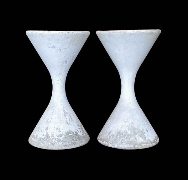 Garden Elements - Pair of 1960s White Cement Willy Ghul Planters