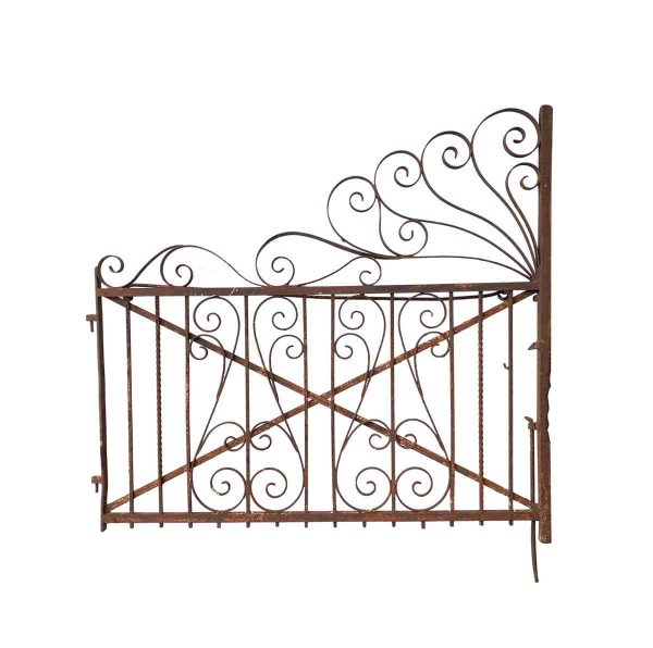 Gates - Antique Large Scrolling Wrought Iron Garden Gate Half