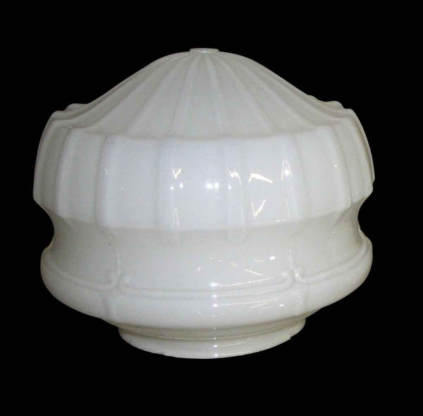 Globes & Shades - Antique Milk Glass Fluted 10 in. Globe Circa 1920 with Chain and Canopy