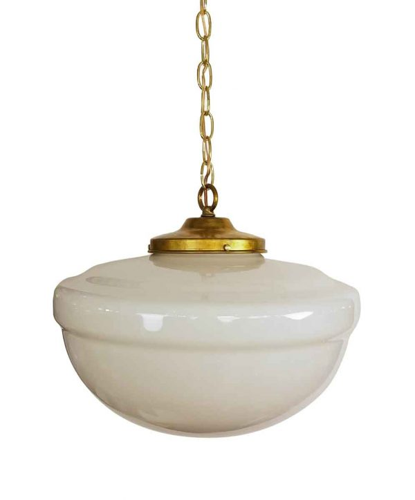 Globes - Vintage Rounded Milk Glass 16 in. Schoolhouse Pendant Light