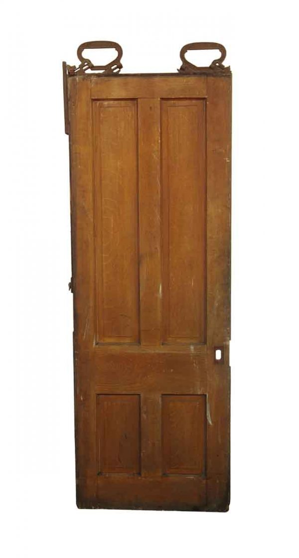 Pocket Doors - Antique 4 Pane Wood Pocket Door 90 x 32.5