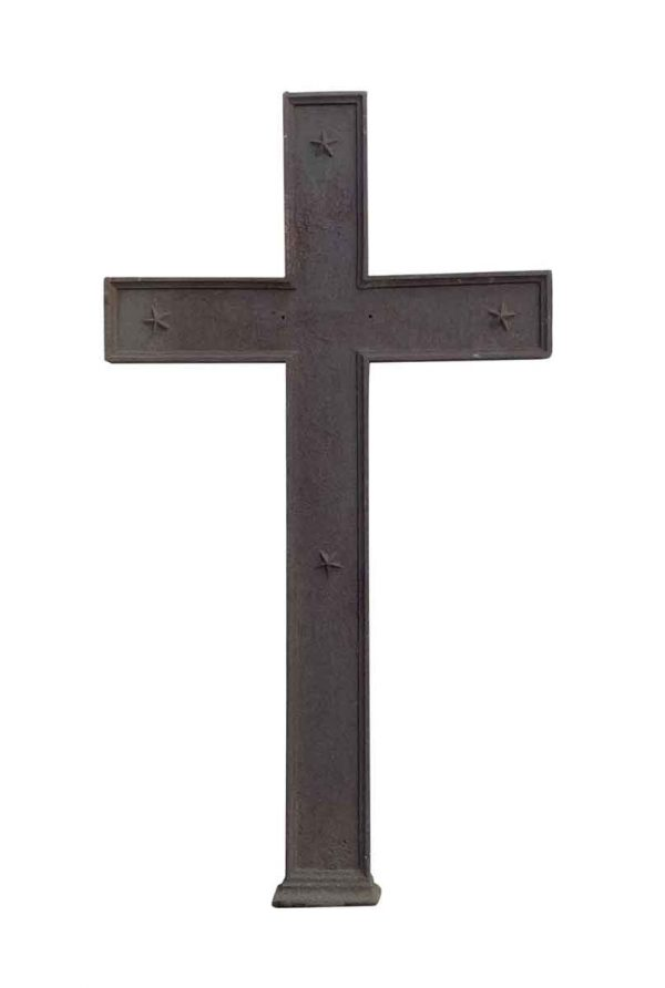 Religious Antiques - Antique 53 in. H Cast Iron Cross with Star Motif