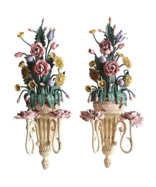 Sconces & Wall Lighting - Antique Italian Enameled Metal Floral Bouquet Wall Sconces