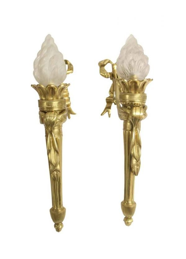 Sconces & Wall Lighting - Antique Pair of Cast Brass Torche Wall Sconces