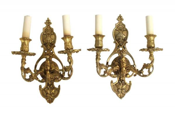 Sconces & Wall Lighting - Antique Pair of French Cast Brass Wall Sconces