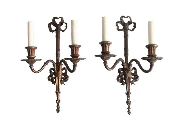 Sconces & Wall Lighting - Antique Victorian Pair of Bronze Ribbon Wall Sconces