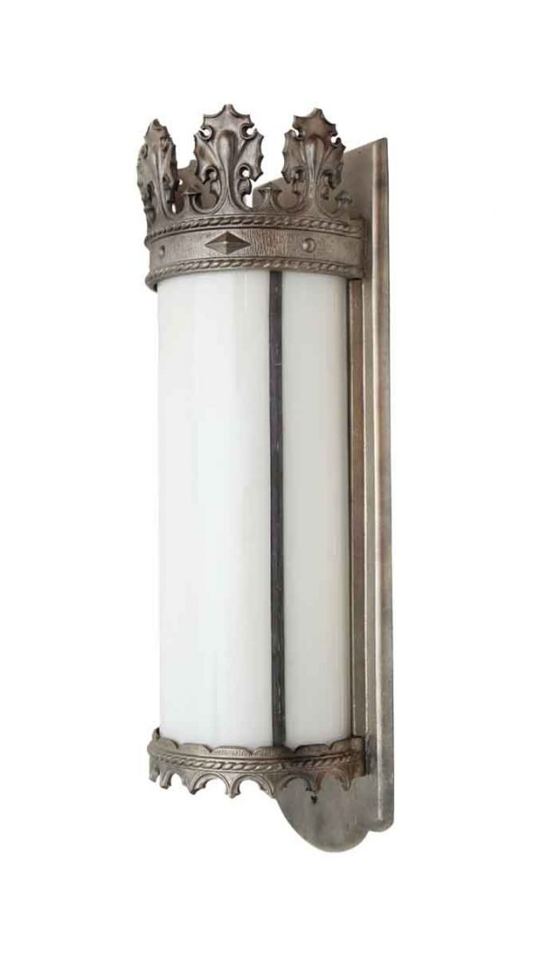 Sconces & Wall Lighting - Gothic Nickel Lantern Sconce with Milk Glass