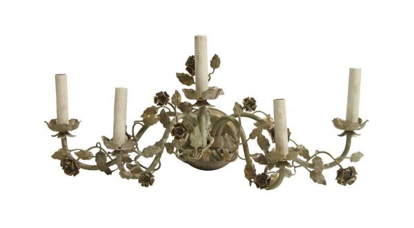 Sconces & Wall Lighting - Italian Five Light Wide Floral Metal Wall Sconce