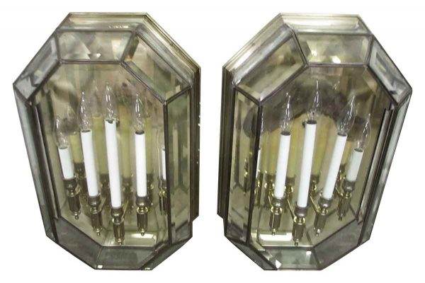 Sconces & Wall Lighting - Large Georgian Style Five Light Brass & Glass Wall Sconces