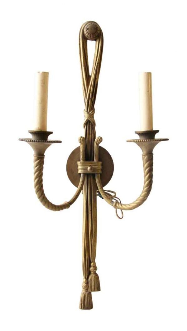 Sconces & Wall Lighting - Neoclassical Gold Gilded Two Arm Brass Wall Sconce