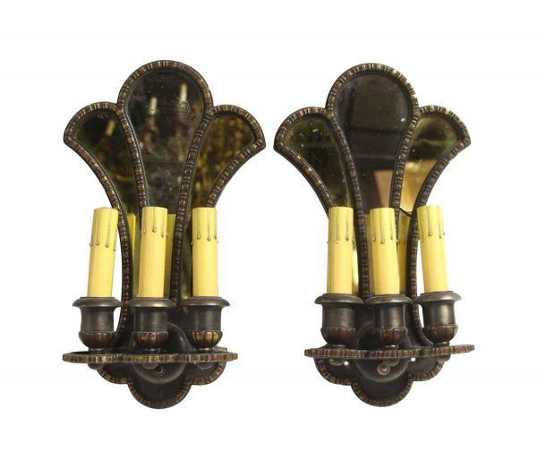 Sconces & Wall Lighting - Pair of Jacobean Bronze with Mirror Backed Wall Sconces