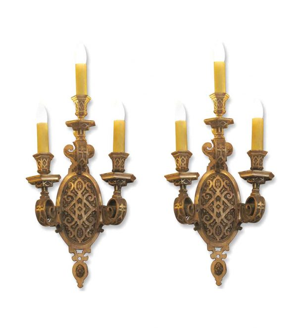 Sconces & Wall Lighting - Pair of Neoclassical Caldwell Silver over Bronze Wall Sconces
