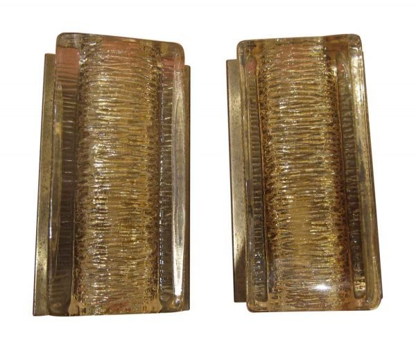 Sconces & Wall Lighting - Pair of Textured Glass Danish Wall Sconces