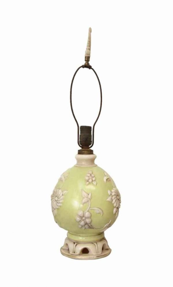 Table Lamps - Milk Glass Vanity Lamps Circa 1940 Floral Detail over Pastel Green Base