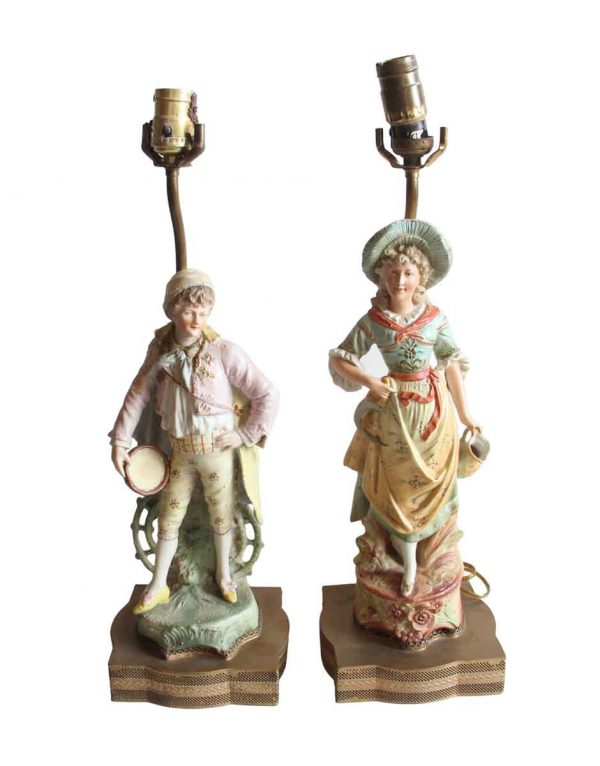 Table Lamps - Pair of Victorian Ceramic & Brass Figural Table Lamps