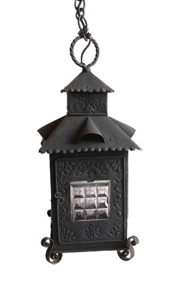 Up Lights - Antique Black Wrought Iron Glass Carriage Pendant Light