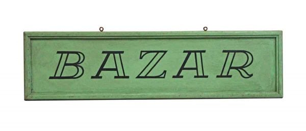 Vintage Signs - European Green Hand Painted 5 ft Bazar Wooden Sign