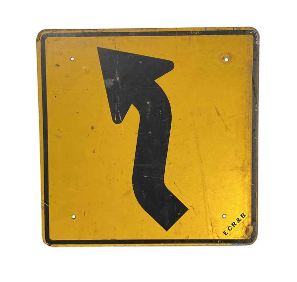 Vintage Signs - Reclaimed Aluminum United States Curvy Road Ahead Sign