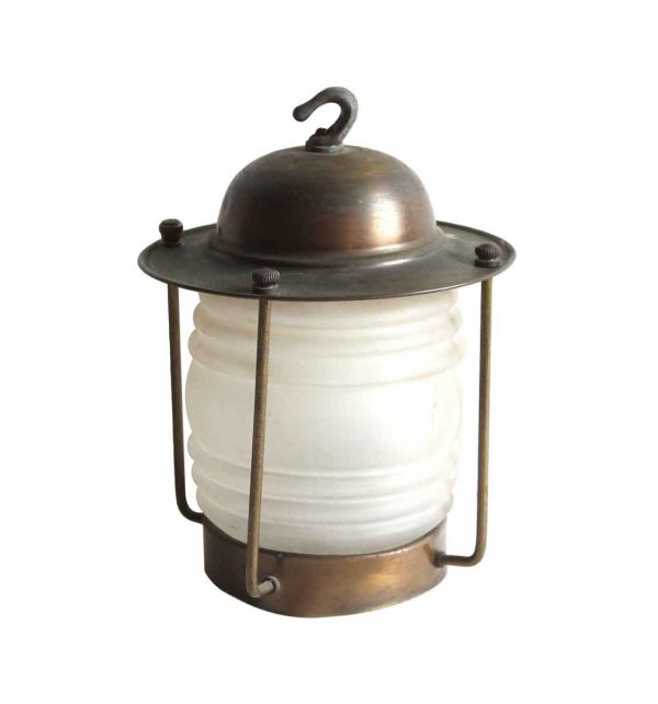 Wall & Ceiling Lanterns - Antique Traditional Mini Brass & Frosted Glass Ceiling Lantern