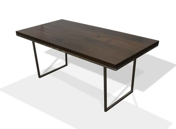 Custom Modern Solid Walnut Table with Steel Base Legs