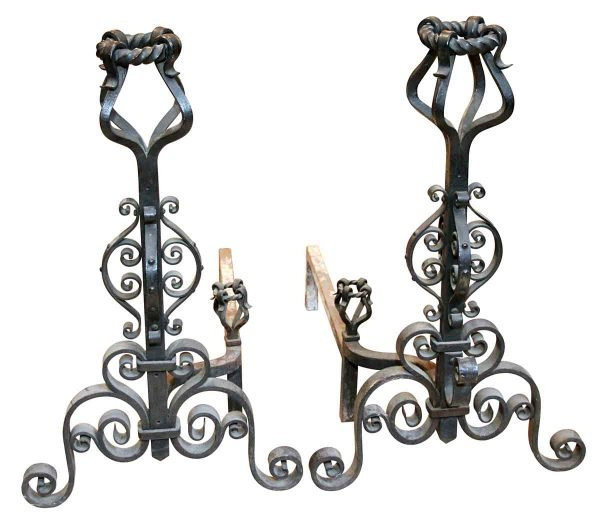 Andirons - Pair of Curled Black Heavy Wrought Iron Andirons