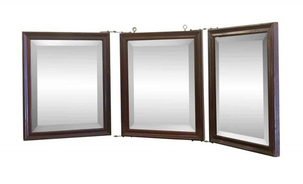 Antique Mirrors - Vintage Tabletop Traveling Wood Trifold Mirror
