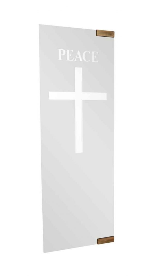 Commercial Doors - Vintage Etched Glass Church Double Doors 73.75 x 47.5