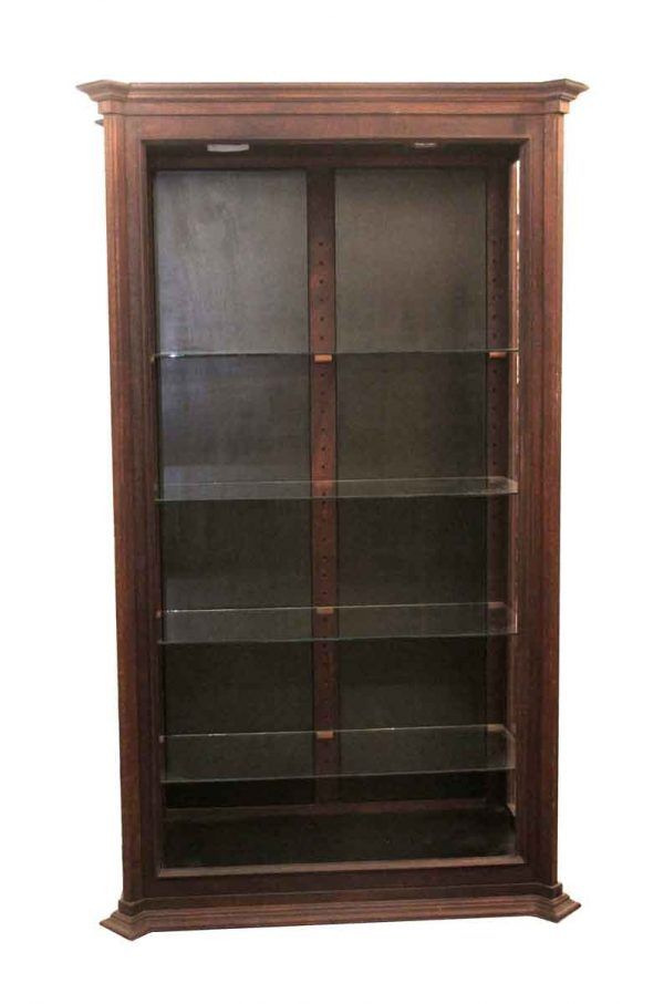 Commercial Furniture - 1970s Mahogany 7 ft Display Case with Glass Shelves