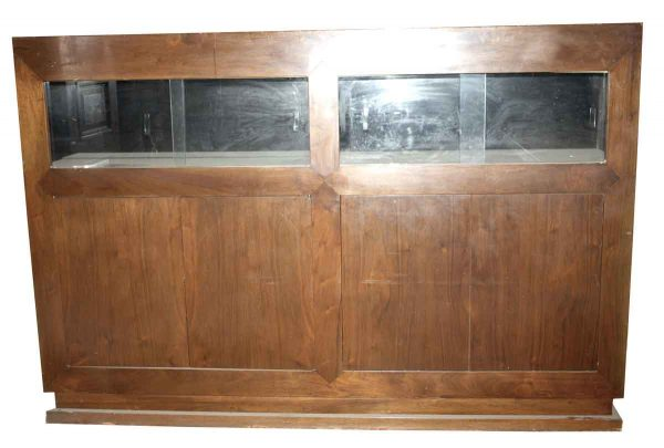 Commercial Furniture - Vintage 8 ft W Walnut Showcase with Front Cabinets