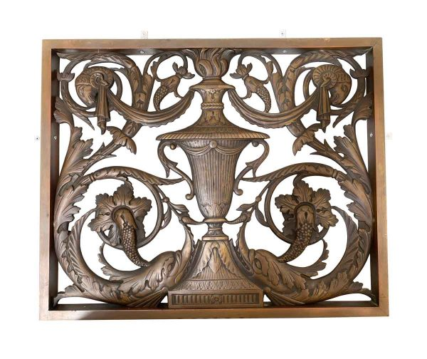 Decorative Metal - Pair of Cast Bronze Cut Out Panels with Rams & Dolphins