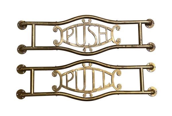 Door Pulls - Pair of Commercial Brass Door Push & Pull Bars