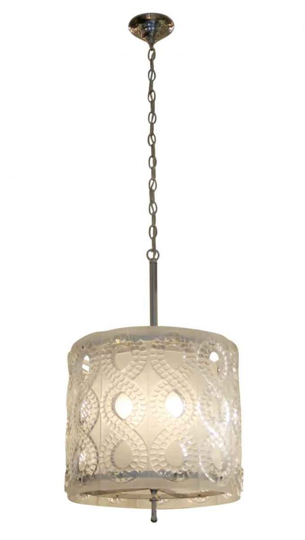 Drums - 20th Century Molded Crystal Pendant Light