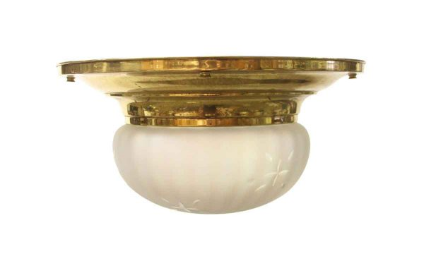 Flush & Semi Flush Mounts - 1920s Opalescent Fluted Globe Brass Flush Mount