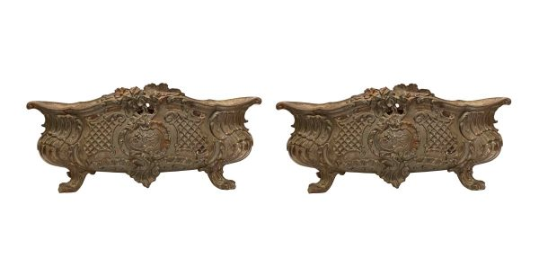 Garden Elements - Pair of Antique Cast Iron French Planters