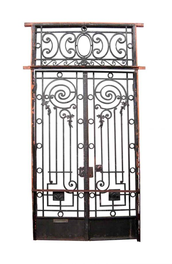 Gates - 19th Century Double Wrought Iron Gates with Transom