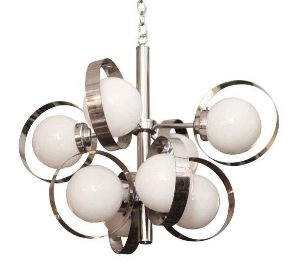 Globes - 1960s Mid Century Chrome Finish Glass Globes Pendant Light